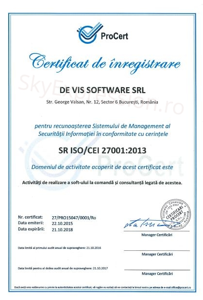 ISO27001 De Vis Software srl