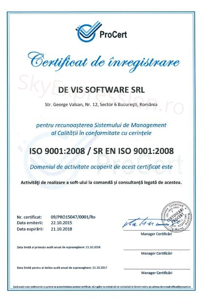 ISO9001 De Vis Software srl